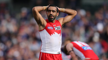 Adam Goodes was repeatedly vilified by some AFL fans towards the end of his playing career.