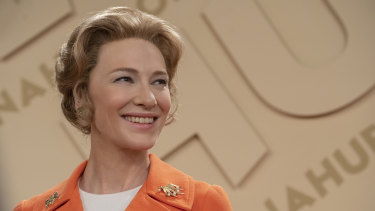 Emmy-nominated actress Cate Blanchett as Phyllis Schlafly in Mrs America.