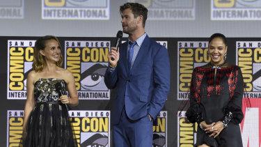 Portman, Chris Hemsworth and Tessa Thompson at Comic-Con.