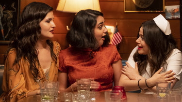 Viswanathan (centre) with co-stars Phillipa Soo and Molly Gordon.