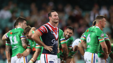 Courageous Roosters captain Boyd Cordner after a Canberra try.