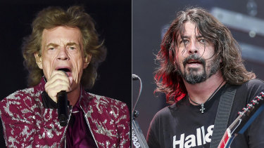 The Rolling Stones' Mick Jagger, left, teamed up with Foo Fighters' Dave Grohl to record new song Eazy Sleazy, about coming out of lockdown.