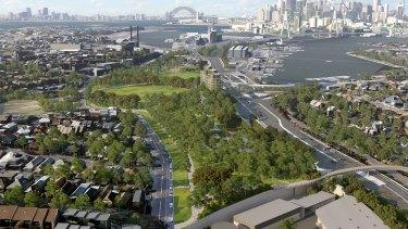 An artist's impression of parkland above the Rozelle Interchange.