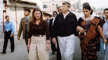 Charitable work: Melinda and Bill Gates in Bangladesh in 2005.