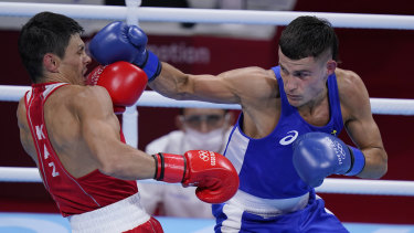 Harry Garside connects with a right hand against Kazakhstan's Zakir Safiullin.