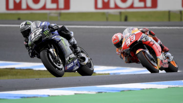 Giving chase: Race winner Marc Marquez (right) hot on the tail of Yamaha rider Maverick Vinales at the Philip Island circuit,