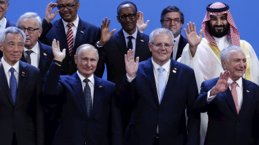 Russian President Vladimir Putin and Prime Minister Scott Morrison during the family photo at the G20 summit in Buenos Aires last year.