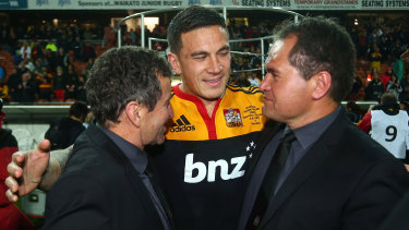 Sonny Bill Williams, centre, with Dave Rennie, right, after the Chiefs won the Super Rugby title in 2012.