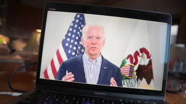 Joe Biden holds a virtual campaign event last month.