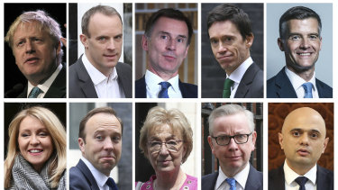 The contenders: top row from left, Boris Johnson, Dominic Raab, Jeremy Hunt, Rory Stewart, Mark Harper. Bottom row from left, Esther McVey, Matt Hancock, Andrea Leadsom, Michael Gove, Sajid Javid.
