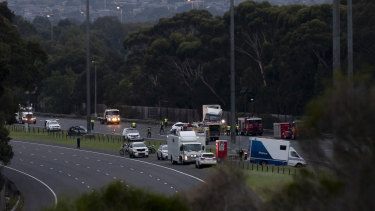 Four officers were killed on the Eastern Freeway in Kew on Wednesday. The freeway remained closed on Thursday morning.