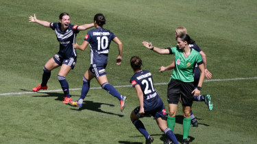 Grace Maher celebrates the goal that sent the W-League semi-final into extra time.