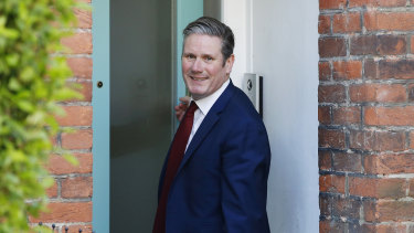 Sir Keir Starmer leaves his home in London. The new Labour leader says he wants to re-imagine Britain.