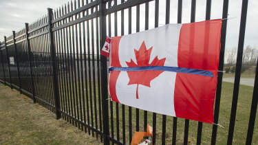 A tribute is displayed at the Royal Canadian Mounted Police headquarters in Dartmouth, Nova Scotia.