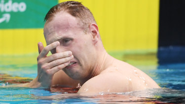 Matthew Wilson was distraught after missing qualifying time in the 200m breaststroke.