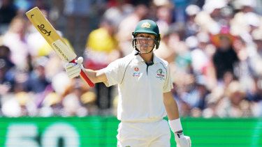 Solid contributor: Marnus Labuschagne celebrates reaching another 50 on day one of the second Test against New Zealand at the MCG.