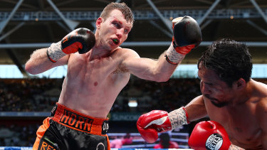 Jeff Horn on his way to stunning Manny Pacquiao at Suncorp Stadium.