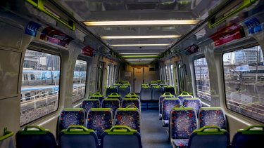 The city's trains are empty during lockdown.