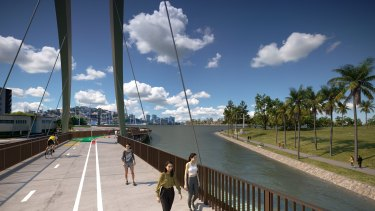 An artist's impression of the approved design for the $67 million Breakfast Creek green bridge.
