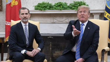 US President Donald Trump meets with King Felipe VI of Spain at the White House in June.