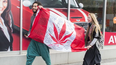 A government cannabis store in Montreal on the day Canada became the largest country with a legal national marijuana marketplace.