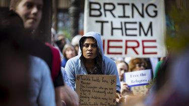 A protester in Melbourne.