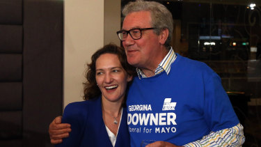 Liberal candidate Georgina Downer with her father Alexander Downer at the Barker Hotel, Adelaide on Saturday night.