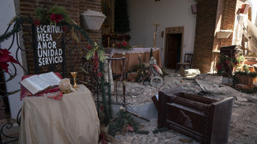 Parroquia Inmaculada Concepción church was heavily damaged after a 6.4 earthquake hit.
