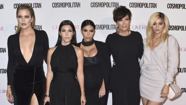 From left, Khloe, Kourtney and Kim, and Kris and Kylie Jenner.
