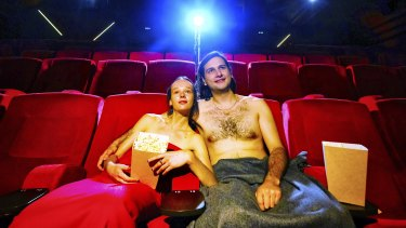 Fantastic Film Festival artistic director Hudson Sowada with partner Emily Milledge at the Lido Cinema in Hawthorn.