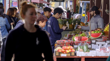Shoppers at the market.