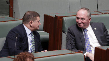 Llew O'Brien talks with Barnaby Joyce during Question Time, before Mr O'Brien was elected deputy speaker of the  House of Representatives.