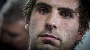 Andrew Gaff after recieving his suspension at the AFL tribunal.