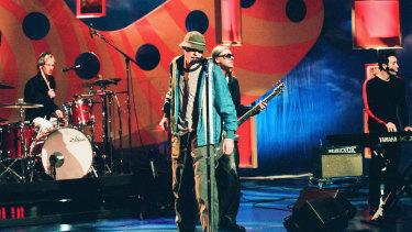 Josh Freese, Gregg Alexander, Sasha Krivtsov and Jim McGorman of New Radicals on The Tonight Show with Jay Leno in 1999.