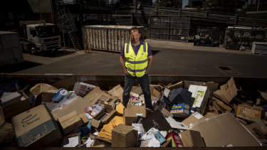 Port Phillip mayor Dick Gross, at his council's South Melbourne waste transfer station in February.
