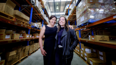 Meryl Dahlitz and Holly Gurling, mother and daughter, owners of Waproo at their factory in Dandenong South.