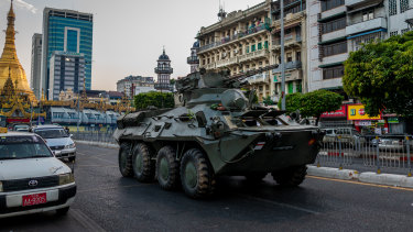 The army in Yangon on Sunday.
