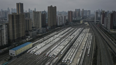 High speed trains near HanKou train station in Wuhan.