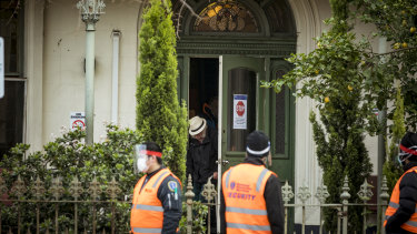 Private security outside Hambleton House, where coronavirus has infected numerous residents and a staff member.