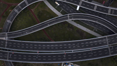 An empty flyover in Wuhan, Hubei province, China.
