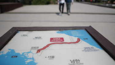 A map of two Koreas showing the Demilitarised Zone with North Korea's capital Pyongyang and South Korea's capital Seoul is seen at the Imjingak Pavilion in Paju, South Korea.