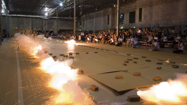 Cai Guo-Qiang ignites his Odyssey artwork (2010) in Houston, Texas.