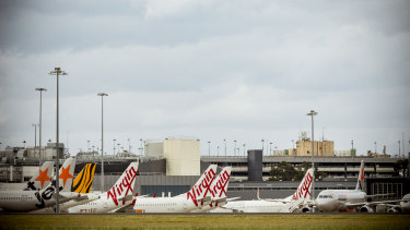 Virgin planes grounded at Melbourne airport.