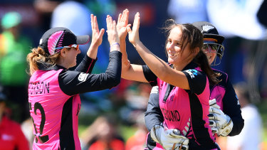 New Zealand's Amelia Kerr celebrates after snaring the wicket of Bangladesh's Jahanara Alam.