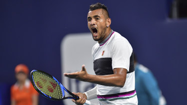 Out: Nick Kyrgios has been eliminated from the Miami Open following a loss to Borna Coric which showcased both sides of his enigmatic style.