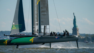 The Australian craft during the last leg of the SailGP series in New York.