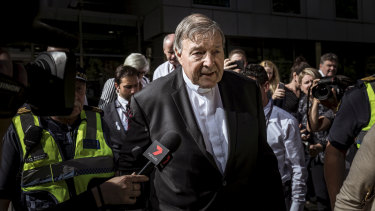 Cardinal George Pell leaves the County Court on December 11, 2018, after being found guilty of sexually assaulting two choirboys in 1996 in Melbourne.