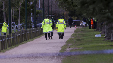 Parts of the park's running track have been closed off as police investigate.