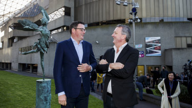 Arts Minister Martin Foley, left, and Premier Daniel Andrews outside the Arts Centre.
