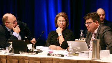 NSW Minister Melinda Pavey during a Murray-Darling Basin ministerial council meeting in Brisbane on Tuesday.